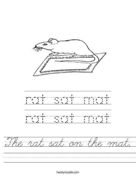 The rat sat on the mat. Worksheet