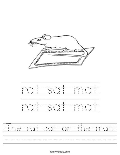 The rat sat on the mat. Worksheet