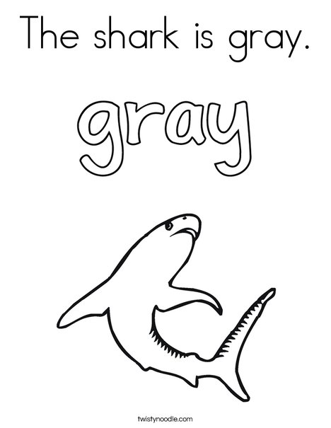 The shark is gray. Coloring Page