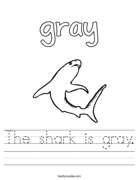 The shark is gray. Worksheet