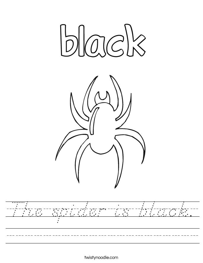 The spider is black. Worksheet