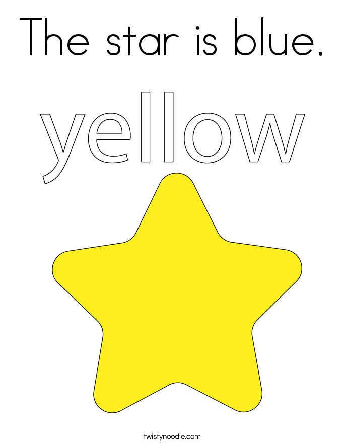 The star is blue. Coloring Page
