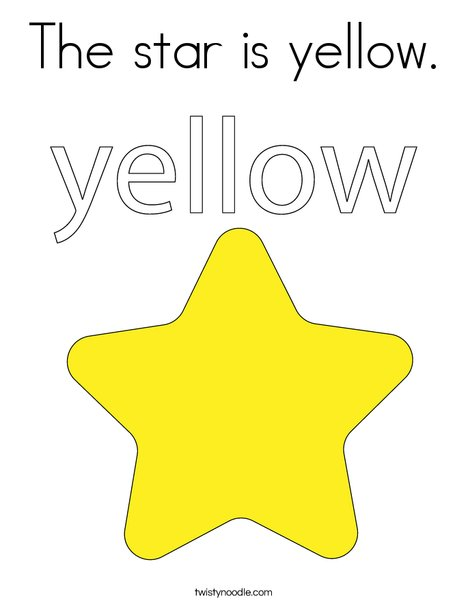 The star is yellow Coloring Page - Twisty Noodle