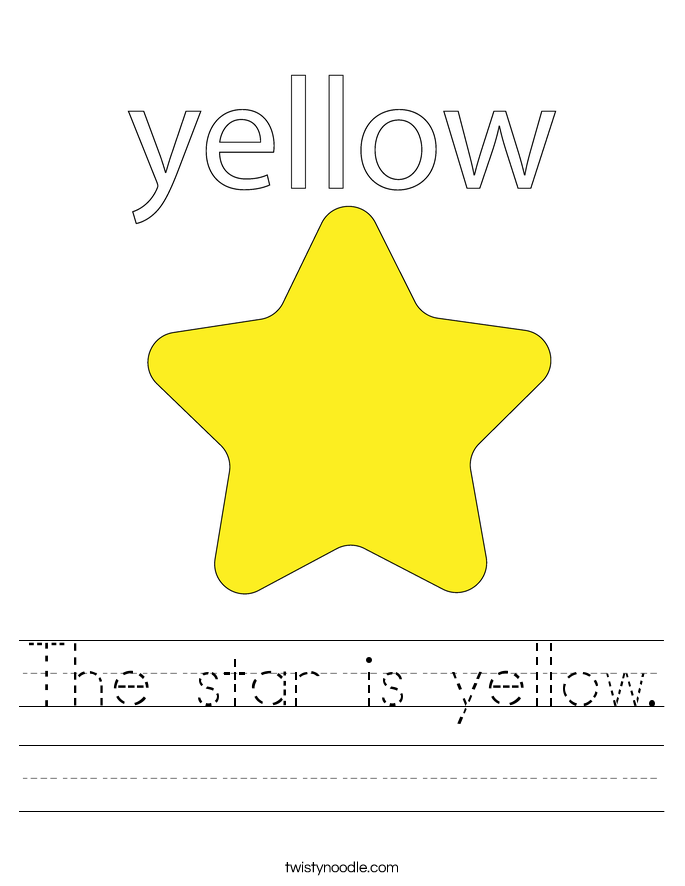 The Star Is Yellow Worksheet Twisty Noodle