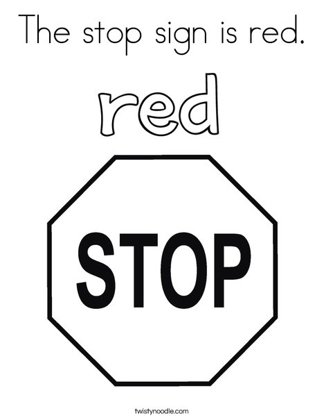 The Stop Sign Is Red Coloring Page