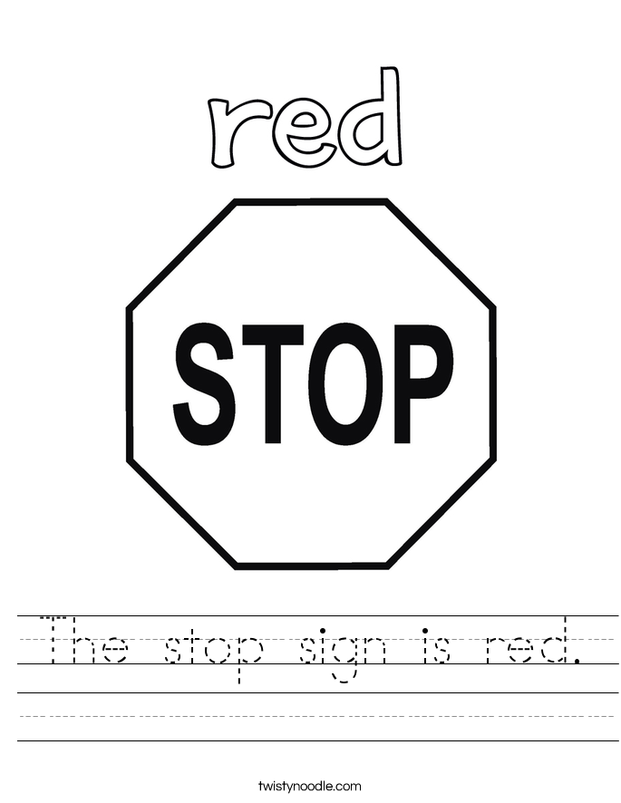 The stop sign is red. Worksheet