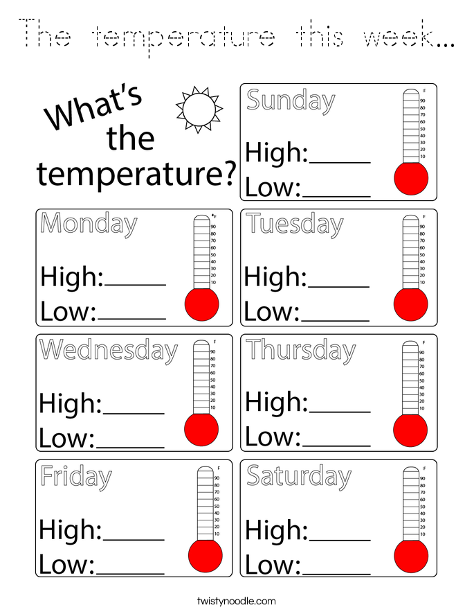 The temperature this week... Coloring Page