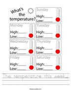 The temperature this week Handwriting Sheet