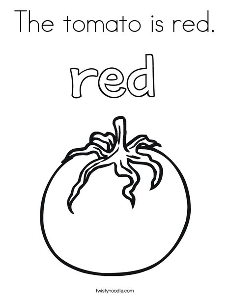 The tomato is red. Coloring Page