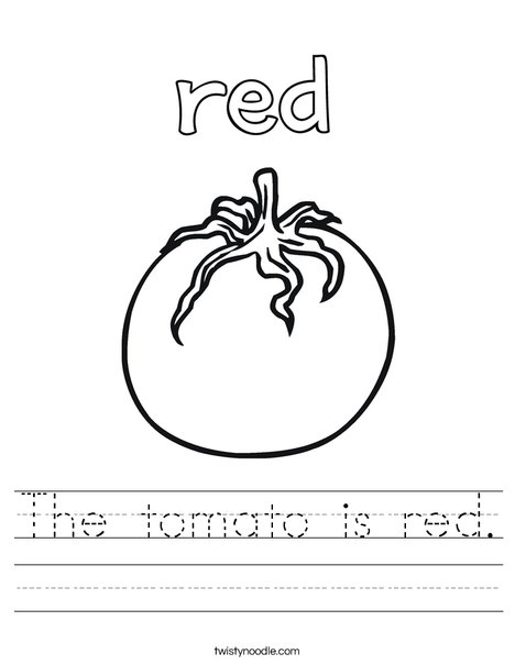 The tomato is red. Worksheet