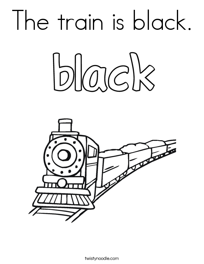 The train is black. Coloring Page
