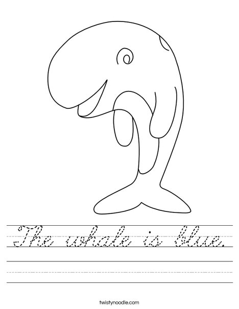 The whale is blue. Worksheet