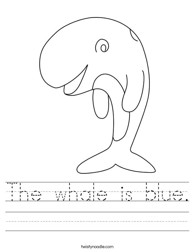 The whale is blue Worksheet - Twisty Noodle