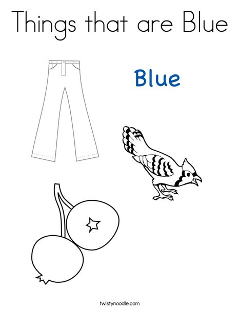 Things that are Blue Coloring Page Twisty Noodle