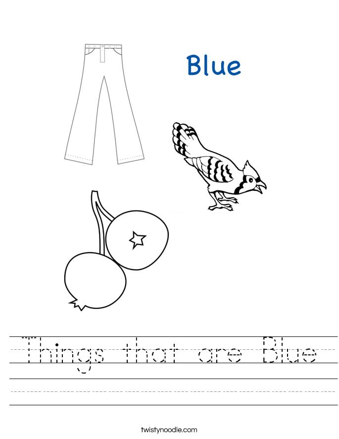Color Blue Worksheets for Kindergarten