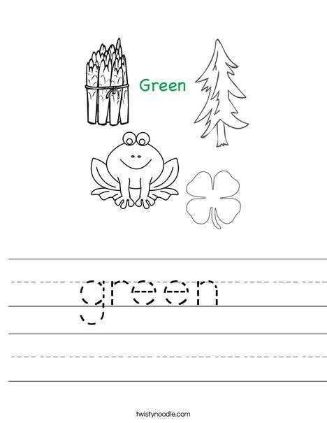 The Color Green | Worksheet | Education.com