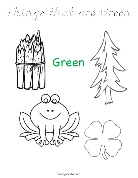 Things that are green Coloring Page