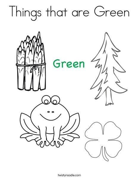 Things that are Green Coloring Page - Twisty Noodle