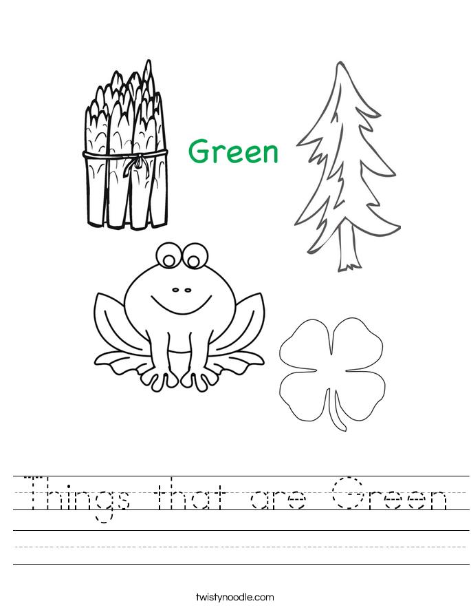Green Worksheets for Kindergarten