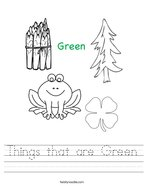 Things that are Green Handwriting Sheet