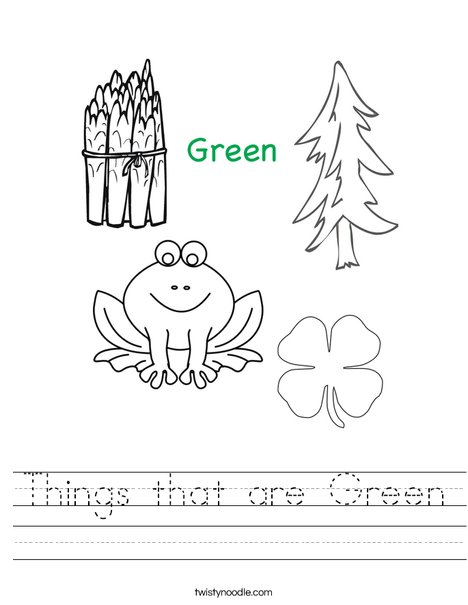 Things that are green Worksheet