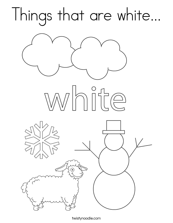 Things that are white... Coloring Page
