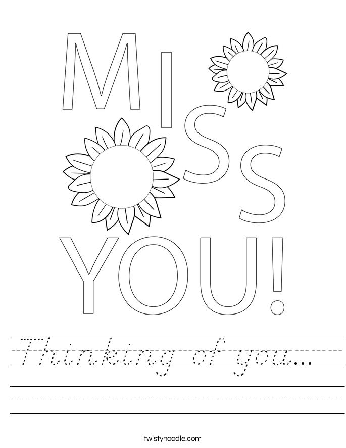 Thinking of you...  Worksheet