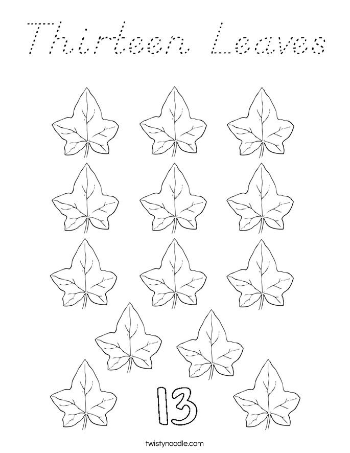 Thirteen Leaves Coloring Page
