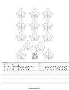 Thirteen Leaves Handwriting Sheet