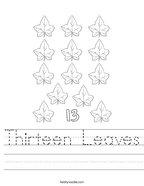 Thirteen Leaves Handwriting Sheet
