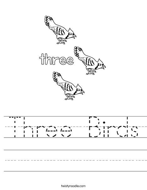Three Birds Worksheet