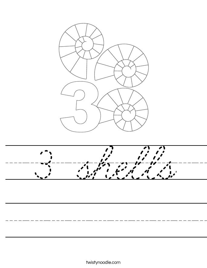 3 shells Worksheet