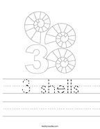 3 shells Handwriting Sheet