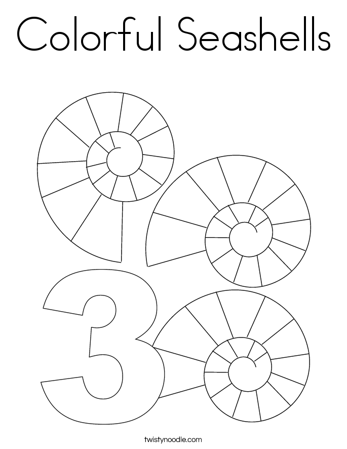 Colorful Seashells Coloring Page