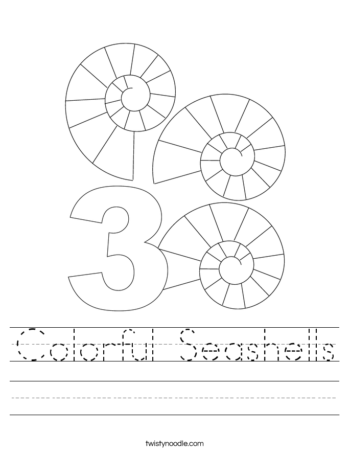 Colorful Seashells Worksheet
