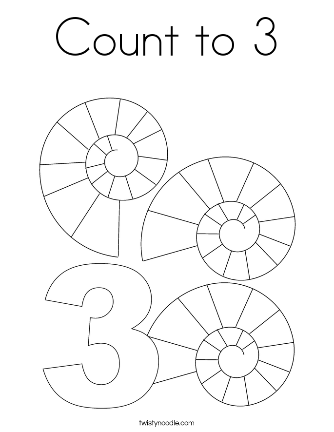Count to 3 Coloring Page