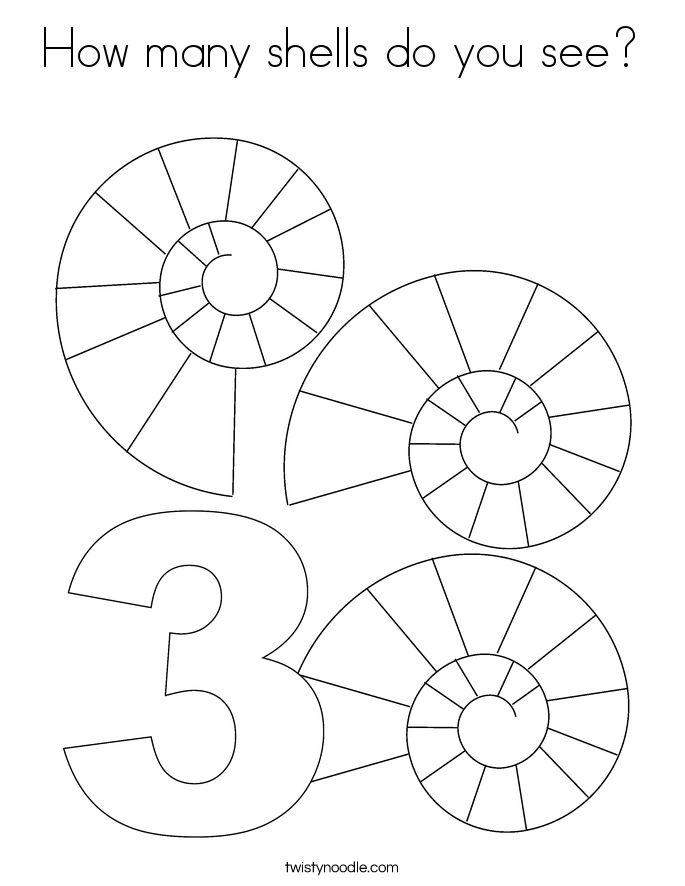 How many shells do you see? Coloring Page