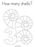 How many shells? Coloring Page