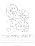 How many shells?  Worksheet