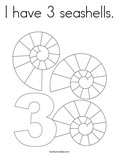 I have 3 seashells. Coloring Page