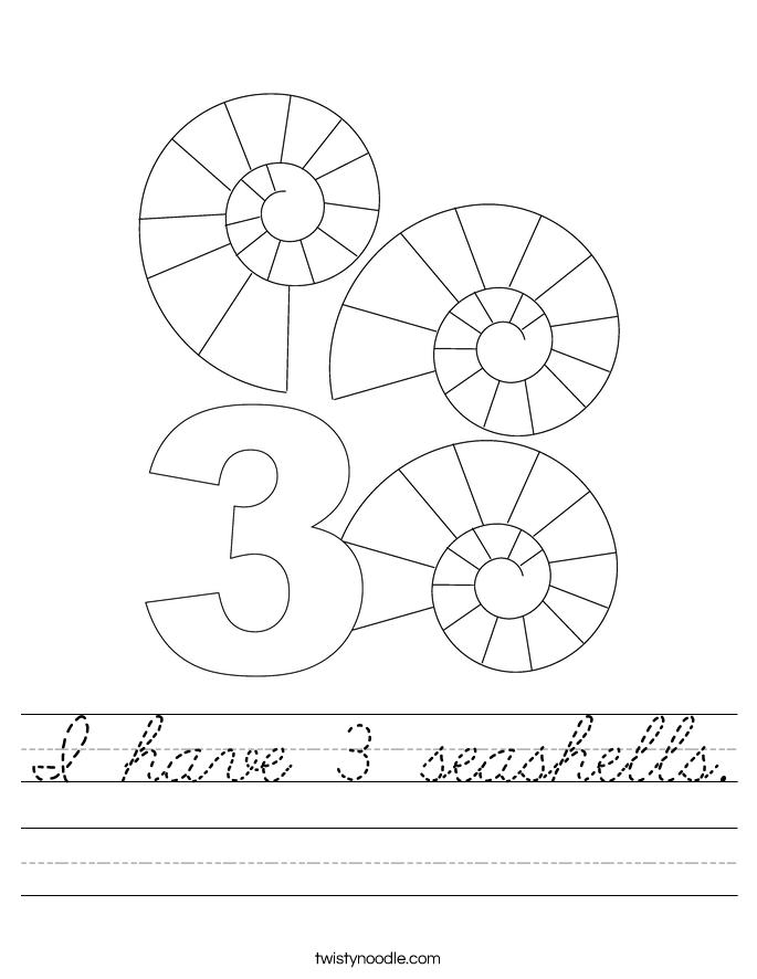 I have 3 seashells. Worksheet