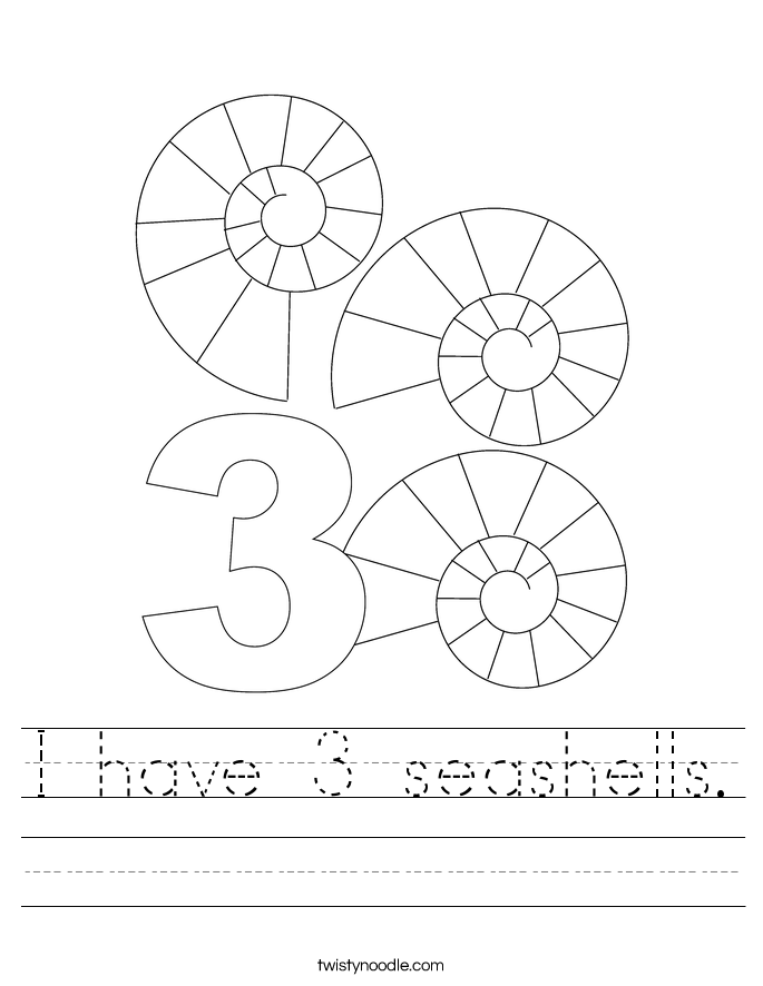 I have 3 seashells. Worksheet