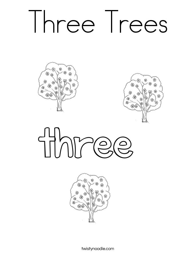 three trees coloring page