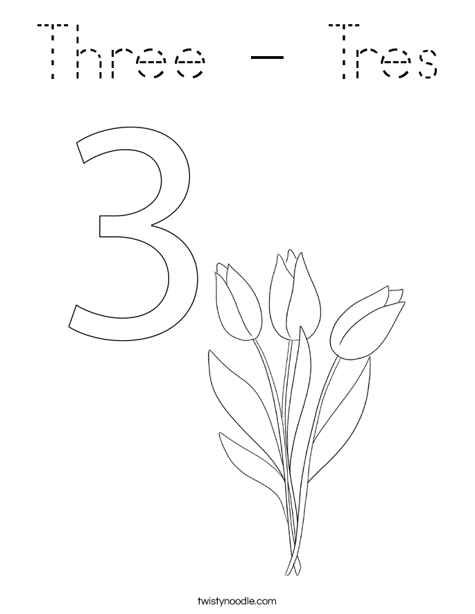 Three - Tres Coloring Page