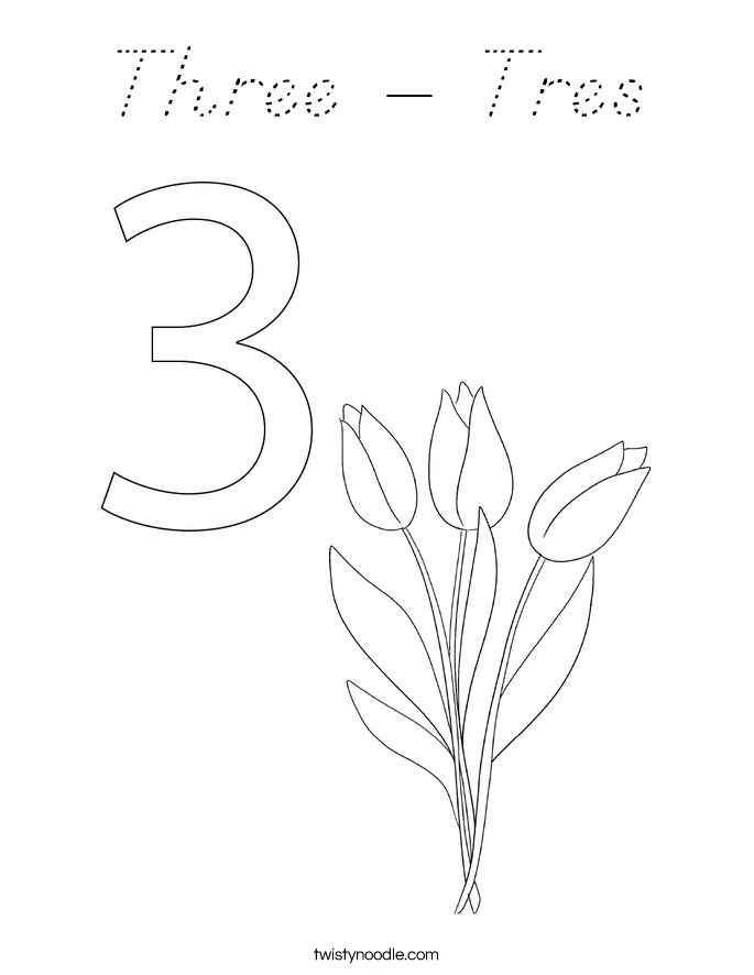 Three - Tres Coloring Page