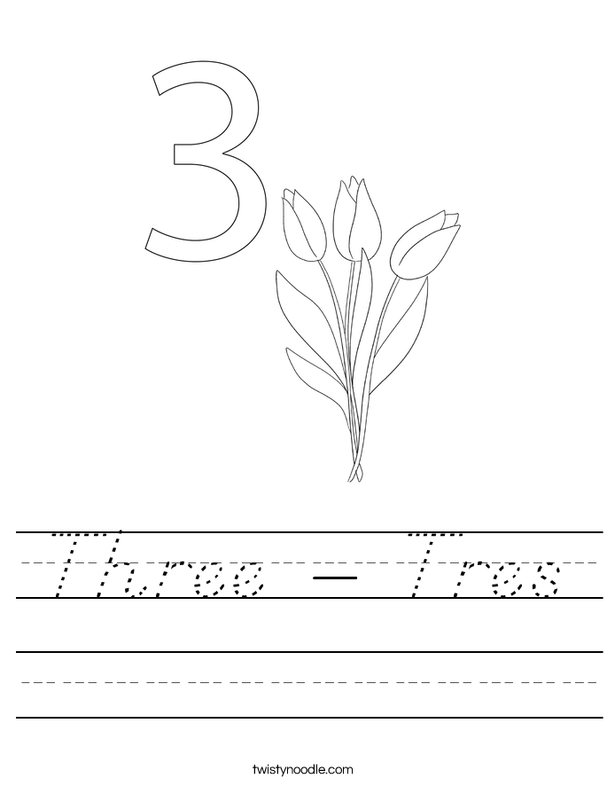 Three - Tres Worksheet