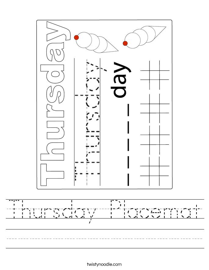 Thursday Placemat Worksheet