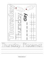 Thursday Placemat Handwriting Sheet