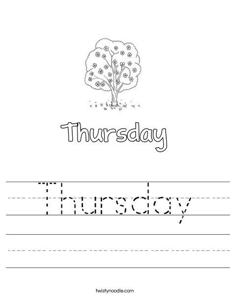 Thursday Worksheet