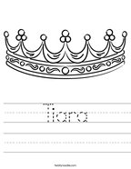 Tiara Handwriting Sheet